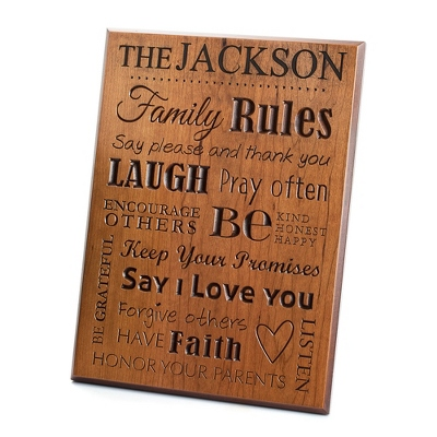 Personalized Wooden Family Rules Wall Art