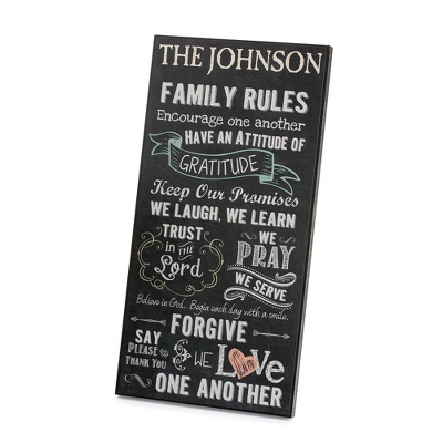 Personalized Chalkboard Family Rules Wall Art