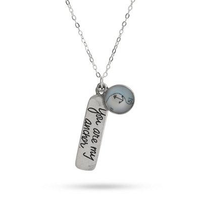"Pewter ""You Are My Anchor"" Necklace with complimentary Classic Beveled Edge Round Keepsake Box"