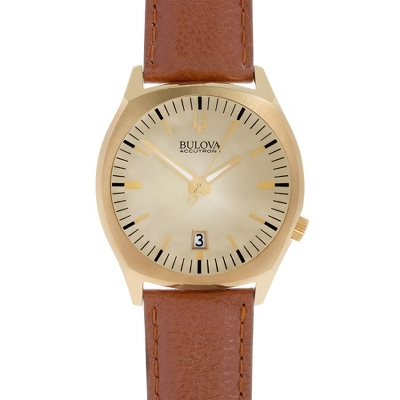 Bulova Accutron II Brown Leather and Gold Wrist Watch with complimentary Black Lacquer Wrist Watch Box