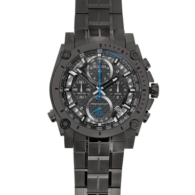Bulova Black and Blue Precisionist Wrist Watch with complimentary Black Lacquer Wrist Watch Box