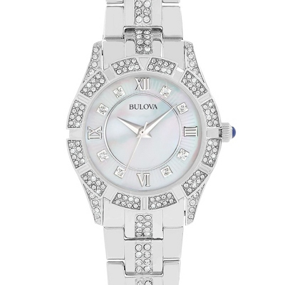 Ladies Bulova Crystal Collection Watch 96L116 with complimentary Filigree Keepsake Box - UPC 825008074583