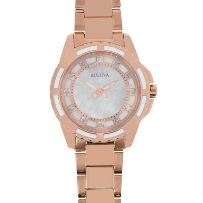 Ladies Bulova Rose Gold Diamond Collection Watch 98P141 with complimentary Filigree Keepsake Box - UPC 825008074606