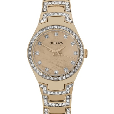 Ladies Bulova Gold Crystal Collection Watch 98L199 with complimentary Filigree Keepsake Box