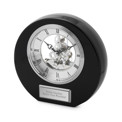 High Gloss Black Round Skeleton Clock