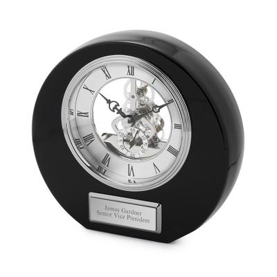 High Gloss Black Round Skeleton Clock - UPC 825008074897