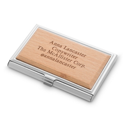 Wood Accented Business Card Case - $14.99