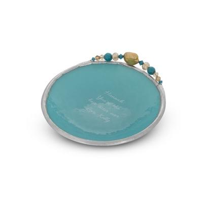 Small Handcrafted Aqua Glass Vanity Dish - $45.00