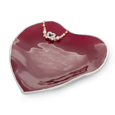 Handcrafted My Heart Red Glass Vanity Dish - UPC 825008075634