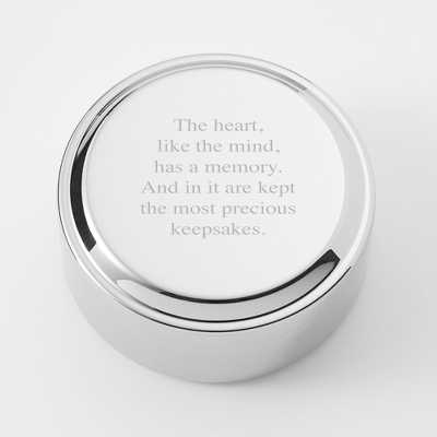 Classic Beveled Edge Round Keepsake Box - UPC 825008075696