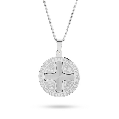 Our Father Silver Cross Pendant with complimentary Weave Texture Valet Box