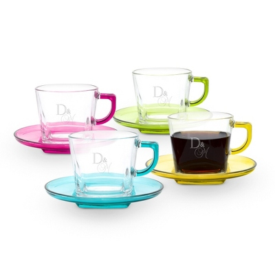 Multi Color Glass Cup & Saucer Set of 4