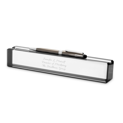 Black Edge Crystal Name Bar - Desk
