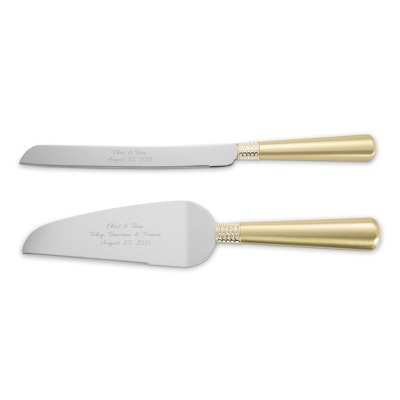 Gold Eternity Cake Servers