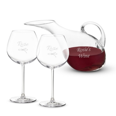 Personalized Wine Glasses with Red Stem