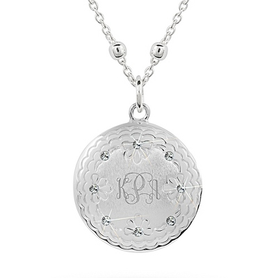 Sterling Silver Floral Locket with complimentary Classic Beveled Edge Round Keepsake Box
