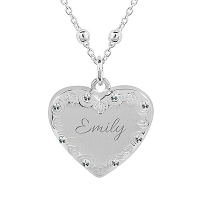 Sterling Silver Floral Heart Locket with complimentary Classic Beveled Edge Round Keepsake Box