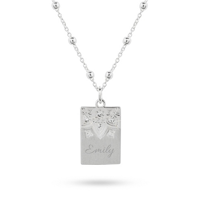 Sterling Silver Petals Rectangle Necklace with complimentary Classic Beveled Edge Round Keepsake Box