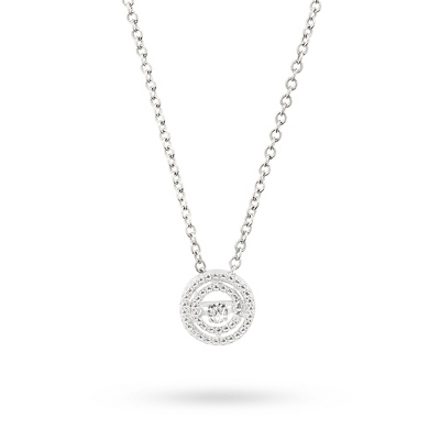 Love Note Diamond Jewelry Collection Circle Necklace with complimentary Classic Beveled Edge Round Keepsake Box