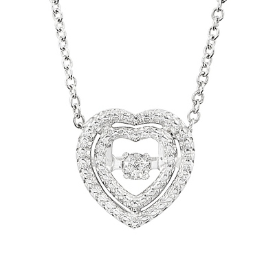 Love Note Diamond Jewelry Collection Heart Necklace with complimentary Classic Beveled Edge Round Keepsake Box