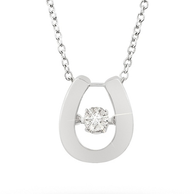 Love Note Diamond Jewelry Collection Horseshoe Necklace with complimentary Classic Beveled Edge Round Keepsake Box