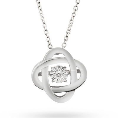 Love Note Diamond Jewelry Collection Knot Necklace with complimentary Classic Beveled Edge Round Keepsake Box