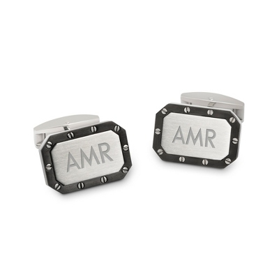 Riveted Titanium Cuff Links with complimentary Tri Tone Valet Box - Men's Summer Cuff Links BOGO