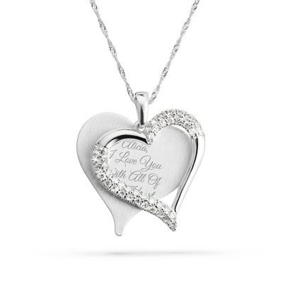 Brushed Heart Necklace - Top Gifts for Her