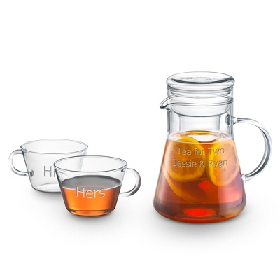 Personalized Clear Glass Teapot and Teacup Set