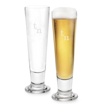 Set of Two Footed Pilsners with Monogram - Two for $20 Sets including Monogram