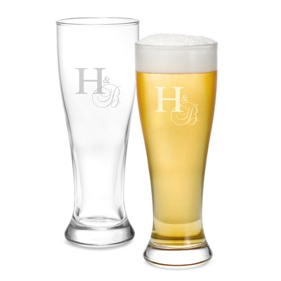 Set of Two Engraved Pilsner Beer Glasses with Monogram - Two for $20 Sets including Monogram