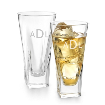 Set of Two Fusion High Ball Glasses with Monogram - Two for $20 Sets including Monogram
