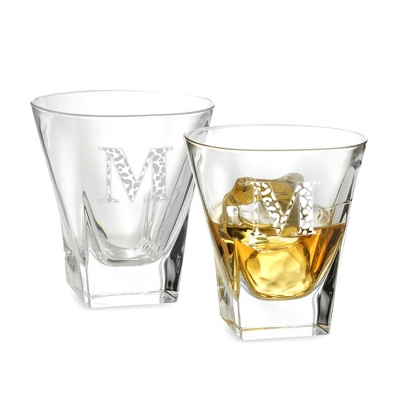 Set of Two Fusion Double Old Fashioned Glasses w/ Monogram - Two for $20 Sets including Monogram