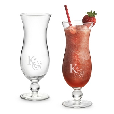 Set of Two Island Hurricane Glasses with Monogram - Two for $20 Sets including Monogram