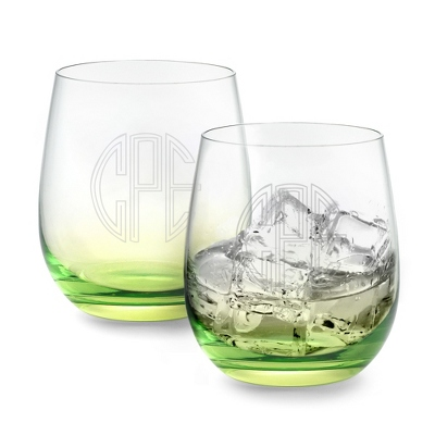 Set of Two Green Glass Tumblers with Monogram - Two for $20 Sets including Monogram