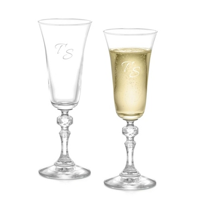 Set of Two Bell Champagne Glasses with Monogram - Two for $20 Sets including Monogram