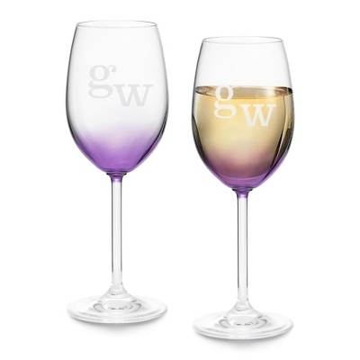 Set of Two Purple Wine Glasses with Monogram - Two for $20 Sets including Monogram