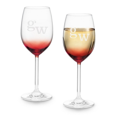 Set of Two Red Personalized Wine Glasses with Monogram - Two for $20 Sets including Monogram
