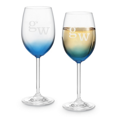 Set of Two Blue Wine Glasses with Monogram - Two for $20 Sets including Monogram