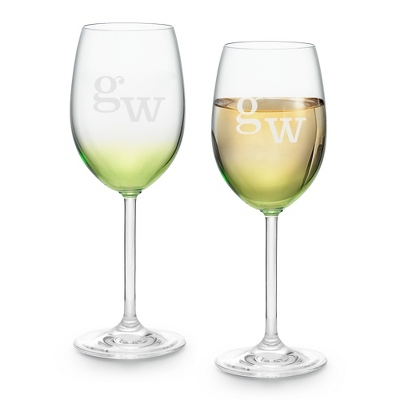 Set of Two Green Wine Glasses with Monogram - Two for $20 Sets including Monogram