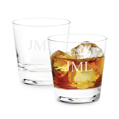 Set of Two Double Old Fashioned Glasses with Monogram - Two for $20 Sets including Monogram