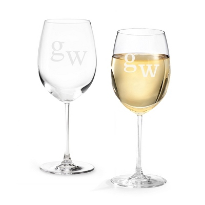 Set of Two White Wine Glasses with Monogram