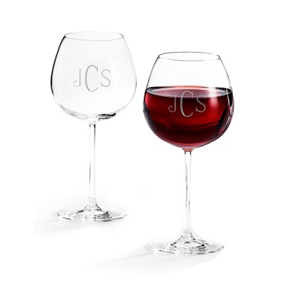 Set of Two Red Wine Glasses with Monogram - Two for $20 Sets including Monogram