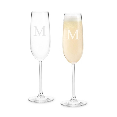 Set of Two Glass Champagne Flutes with Monogram - Two for $20 Sets including Monogram