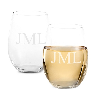 Set of Two Stemless White Wine Glasses with Monogram - Two for $20 Sets including Monogram