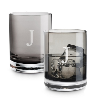 Set of Two Smoke Double Old Fashioned Glasses with Monogram - Two for $20 Sets including Monogram