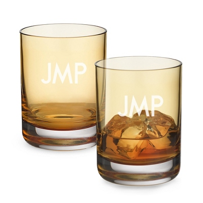 Set of Two Amber Double Old Fashioned Glasses with Monogram - Two for $20 Sets including Monogram