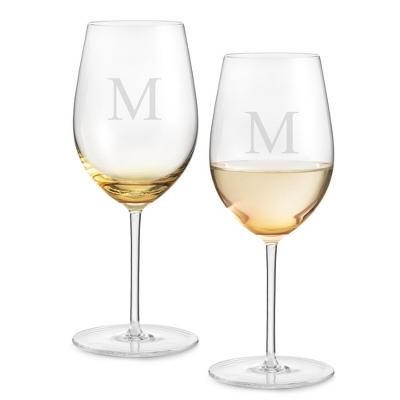 Set of Two Amber Wine Glasses with Monogram - Two for $20 Sets including Monogram
