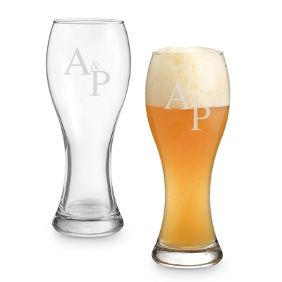 Set of Two Wheat Beer Glasses with Monogram