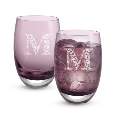 Set of Two Burgundy Tumblers with Monogram - Two for $20 Sets including Monogram